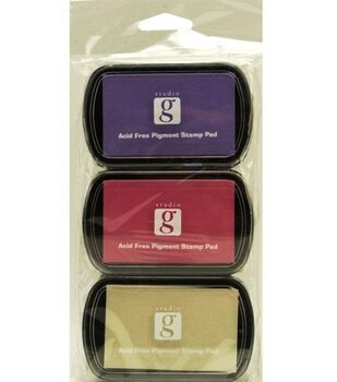 Studio G Washable Ink Stamp Pads-Pink,Purple,White