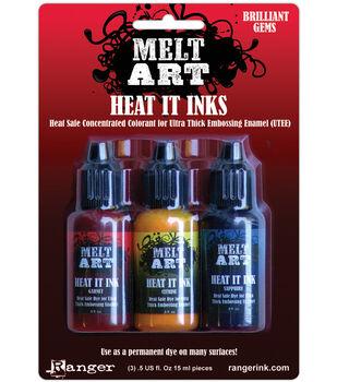 Melt Art Heat It Dye Inks-Brilliant Gems-Sapphire, garnet & Citrine