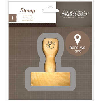 Studio Calico Atlantic Wood Handle Mounted Stamp Here We Are