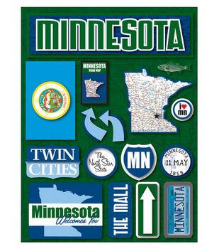 Reminisce Dimensional Stickers-Minnesota