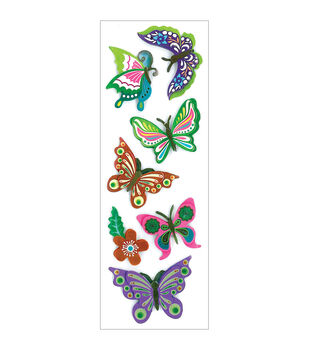 Forever In Time Metallic Butterfly Fancy Chipboard Theme Stickers