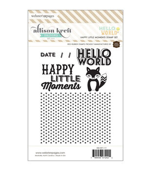 Hello World Red Rubber Stamps-Happy Little Moments
