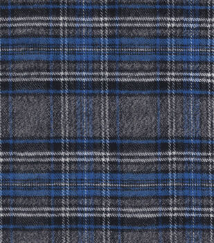 Plaiditudes Collection -  Brush Cotton Gray, Blue, Black