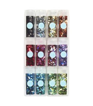 Martha Stewart Hexagonal Glitter 12 Pack