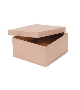 Darice 8''x8''x4'' Square Paper Mache Box