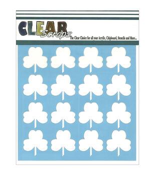 "Clear Scraps Stencils 6""X6""-Shamrock"