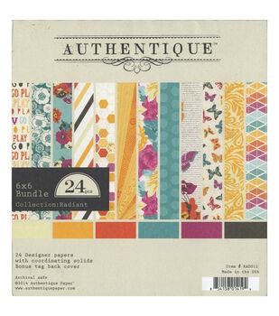 """Authentique Bundle Cardstock Pad 6""""X6"""" 24/Sheets-Radiant"""