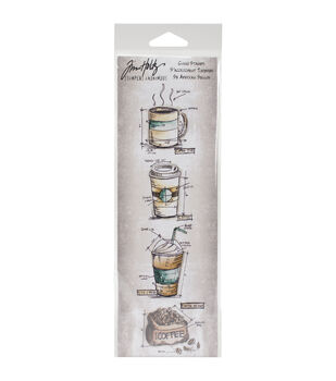 Stampers Anonymous Blueprints Strip Fresh Brewed Cling Rubber Stamps