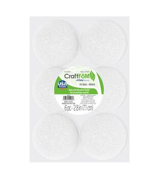 Floracraft 3'' Styrofoam Balls-6PK/White