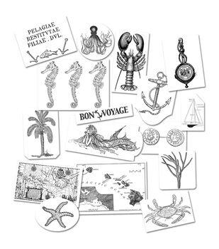 7 Gypsies Black/Whte Maritime Cardstock Tags