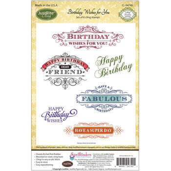 Justrite Stampers Cling Stamp Set Birthday Wishes For You