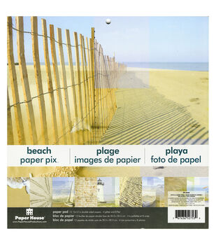 """Paper House Double-Sided Paper Pad 12""""X12"""" 12/Sheets-Beach 8 Flat & 4 Glittered"""