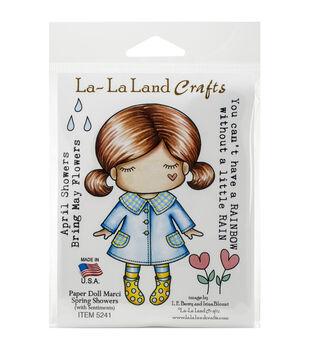 La-La Land Crafts Paper Doll Marci Spring Showers Cling Mount Stamps