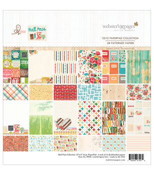 """Webster's Pages Paper Pad 12""""X12"""" 24/Pkg-Hall Pass"""