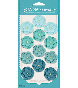 Jolee's Boutique - Teal Paper Flower Repeats