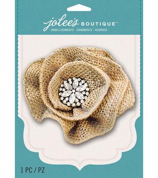 Jolee's Boutique - Burlap Gem Large Flower