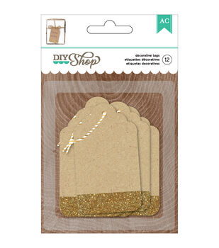 American Crafts DIY Shop 2 Kraft With Gold Glitter Tags