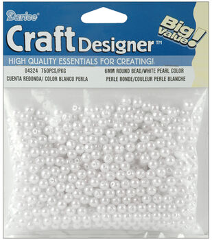 Darice 6mm Rounds Pearls-750PK/White