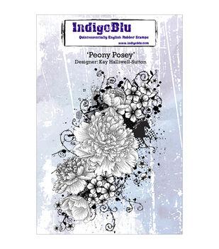 Indigoblu Peony Posey Cling Mounted Stamp