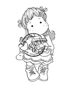 A Christmas Story Cling Stamp-Tilda With Christmas Hearts