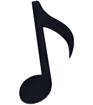 "Wrights Iron-On Appliques-Black Musical Note 3""X2"" 1/Pkg"