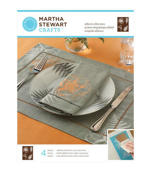"Martha Stewart Adhesive Silkscreen 8-1/2""X11"" 1 Sheet/Pkg-Botanical 4 Designs"