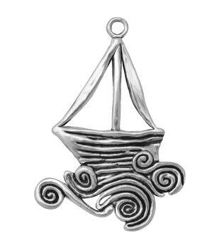 Silver embellishments 10/Pkg-Yacht
