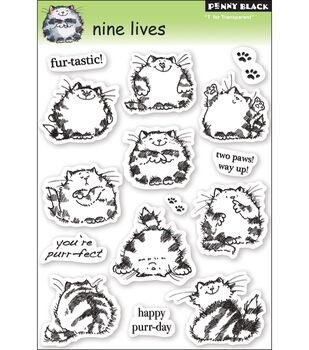 "Penny Black Clear Stamps 5""X7.5"" Sheet-Nine Lives"
