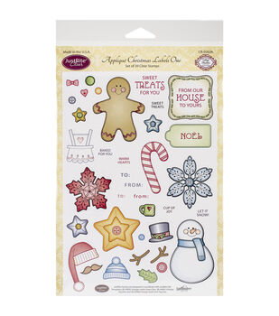 """JustRite Papercraft Clear Stamp Set 6""""X8""""-Applique Christmas Labels One 39pc"""