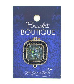 Bracelet Boutique Focal Bead Square With Blue Center