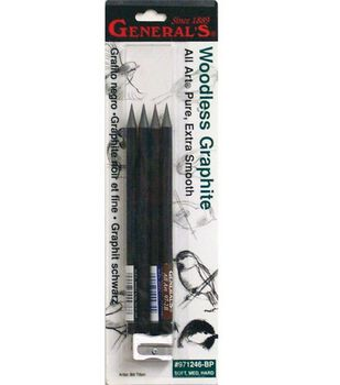 General Pencil Woodless Graphite Pencils & Sharpener-4 Pencils