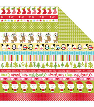 "Christmas Cheer Double-Sided Cardstock 12""X12""-Borders"