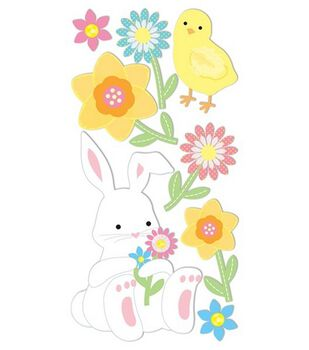Dimensional Stickers-Bunny & Flowers