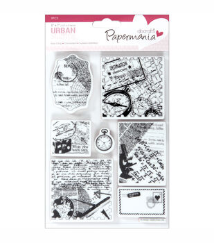 """Papermania Cling Urban Stamps 5""""X7""""-Travel Print"""
