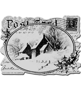 Stampendous Christmas Cling Rubber Stamp Snowy Postcard