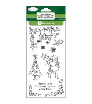 Hampton Art Outlines Reindeer Joy Clear Stamp Set Sheet