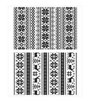 """Tim Holtz Cling Rubber Stamp Set 7""""X8.5""""-Holiday Knits"""