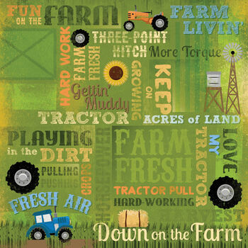 Karen Foster Farm Single Sided Paper Love My Tractor