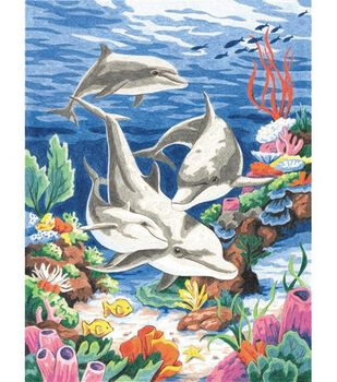 Dimensions Pencil By Number Kit Dolphins In The Sea