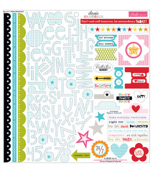 "Classic Calendars Cardstock Stickers 12""X12""-Treasures & Text"