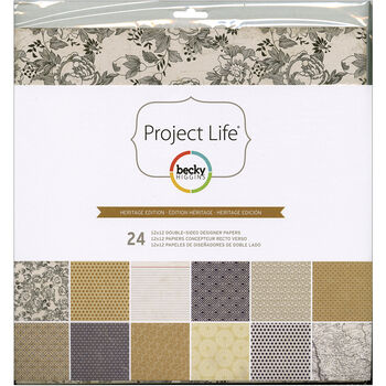 """Project Life Designer Paper Collection Pack 12""""X12"""" 24/Pkg-Heritage Edition"""