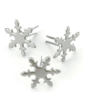 Metal Paper Fasteners-50PK/Pewter Snowflakes