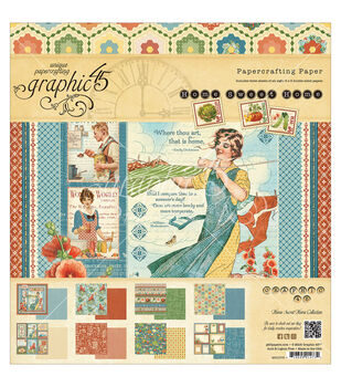 Graphic 45 Home Sweet Home Paper Pad 8''x8''