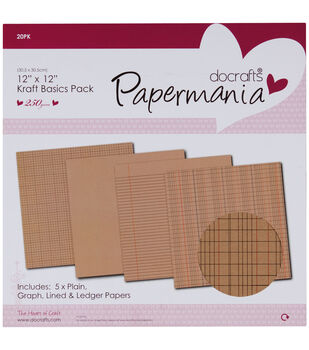 "Papermania Kraft Basics Paper Pack 12""X12"" 20/Pkg-"