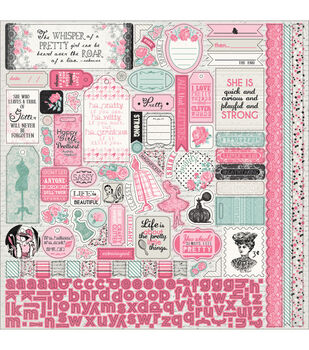 """Classique Pretty Cardstock Stickers 12""""X12""""-Details Pennants, Quotes & Phrases"""