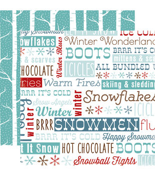 """All Bundled Up Double-Sided Cardstock 12""""X12""""-Frosty Words"""