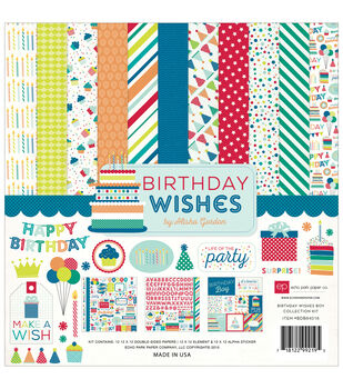 Echo Park Paper Company Birthday Wishes Boy Collection Kit 12''x12''