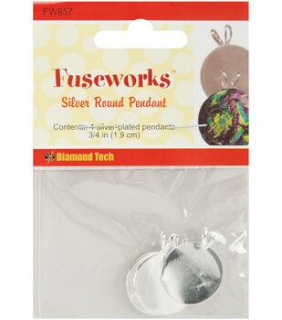 "Diamond Tech Crafts Fuseworks Findings-Round Pendant Silver 11/16"" 4PK"
