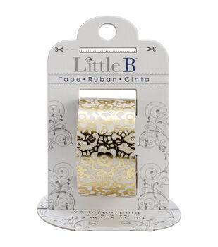 Little B Foil Tape 25mmX10m-Golden Floral