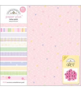 Doodlebug 12''x12'' Paper Plus Pack-12PK/Baby Girl